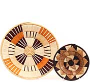 African Basket - Uganda - Banded Weave Bowls - 13.5 Inches Across - #68313