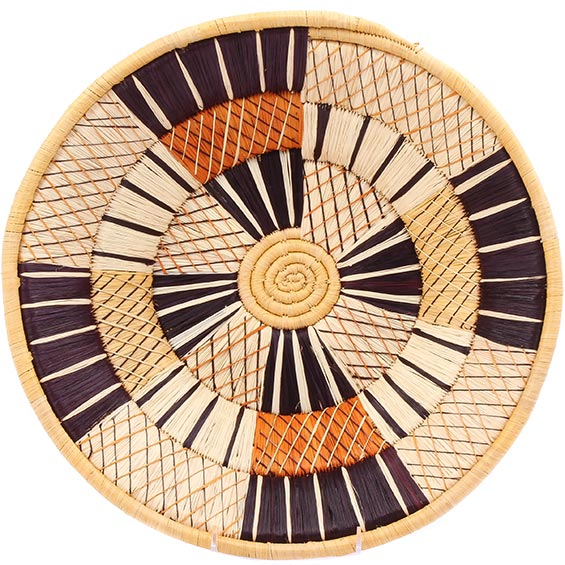 African Basket - Uganda - Banded Weave Bowl - 14 Inches Across - #UR3114