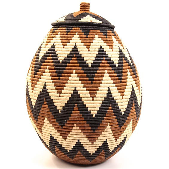 African Basket - Zulu Ilala Palm - Ukhamba - 17 Inches Tall - #29873