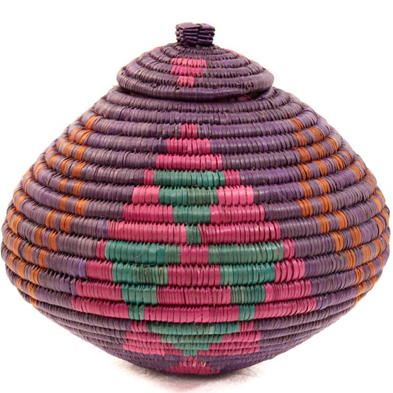 African Basket - Colorful Ukhamba -  6.25 Inches Tall - 39072