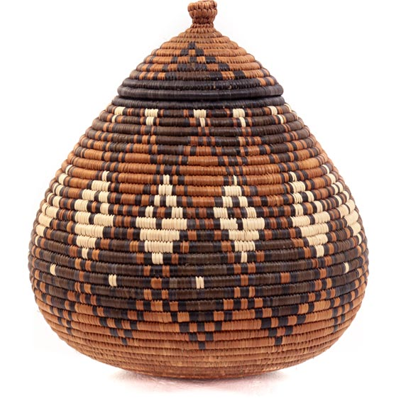 African Basket - Zulu Ilala Palm - Ukhamba - 10.5 Inches Tall - #39244