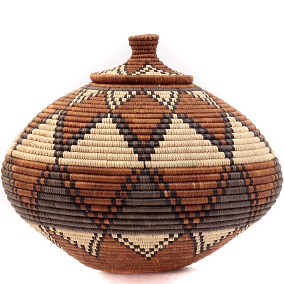 African Basket - Zulu Ilala Palm - Ukhamba -  9.5 Inches Tall - #39256