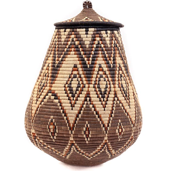 African Basket - Zulu Ilala Palm - Ukhamba - 16.25 Inches Tall - #39265