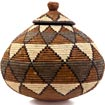 African Basket - Zulu Ilala Palm - Ukhamba - 10.5 Inches Tall - #41042