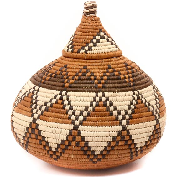 African Basket - Zulu Ilala Palm - Ukhamba -  7.75 Inches Tall - #49766