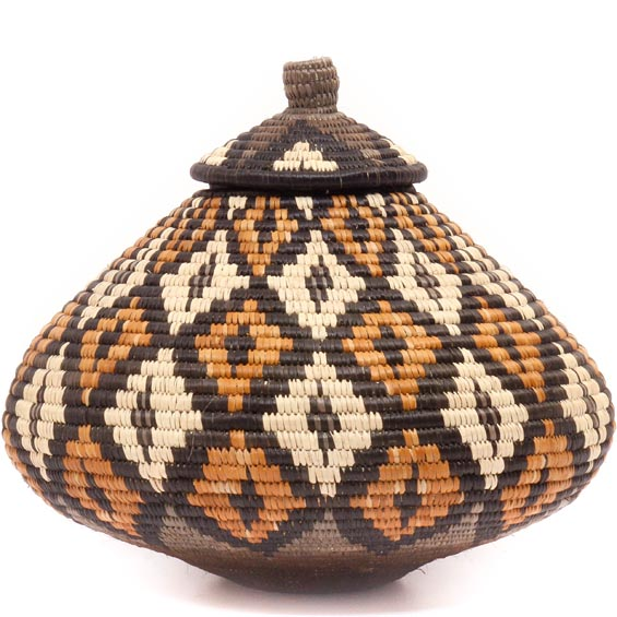 African Basket - Zulu Ilala Palm - Ukhamba - 10 Inches Tall - #50027
