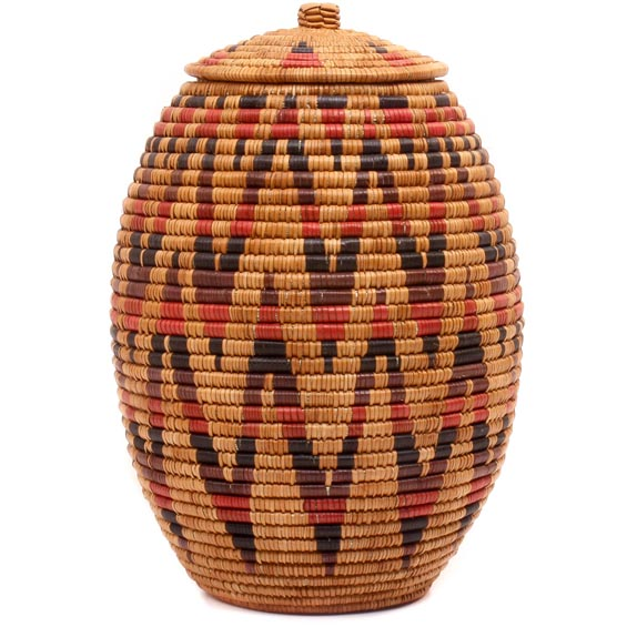 African Basket - Zulu Ilala Palm - Ukhamba - 13.5 Inches Tall - #50029