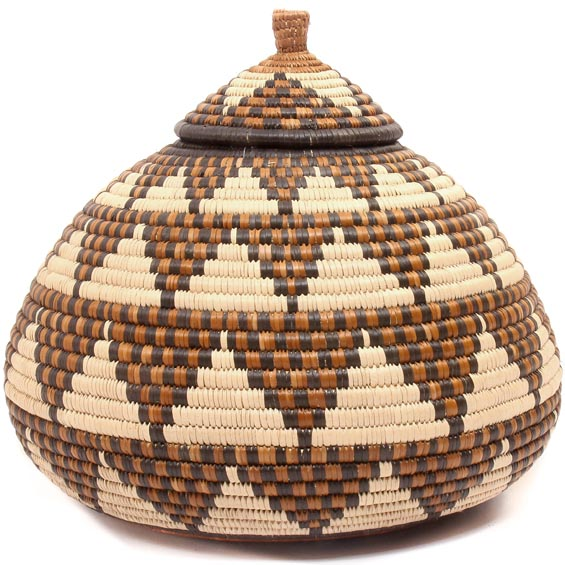 African Basket - Zulu Ilala Palm - Ukhamba - 10 Inches Tall - #50641
