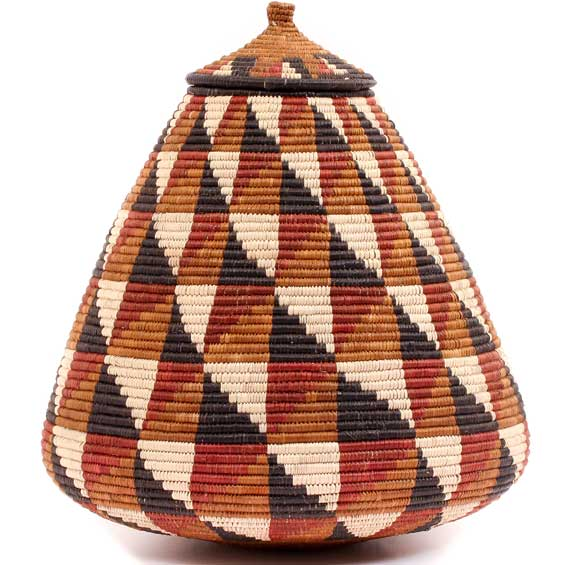 African Basket - Zulu Ilala Palm - Ukhamba - 13.5 Inches Tall - #53372