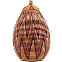 African Basket - Zulu Ilala Palm - Ukhamba - 15.25 Inches Tall - #53823