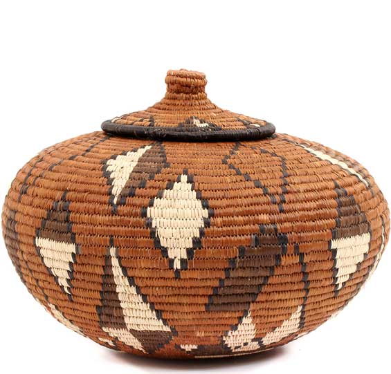 African Basket - Zulu Ilala Palm - Ukhamba -  7.75 Inches Tall - #53827