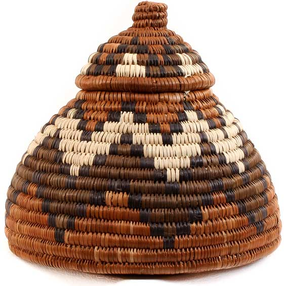 African Basket - Zulu Ilala Palm - Ukhamba -  5.5 Inches Tall - #53887
