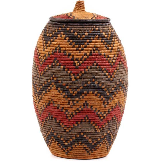 African Basket - Zulu Ilala Palm - Ukhamba - 13.5 Inches Tall - #56404