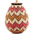 African Basket - Zulu Ilala Palm - Ukhamba - 14.25 Inches Tall - #56406