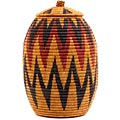 African Basket - Zulu Ilala Palm - Ukhamba - 14.75 Inches Tall - #56408