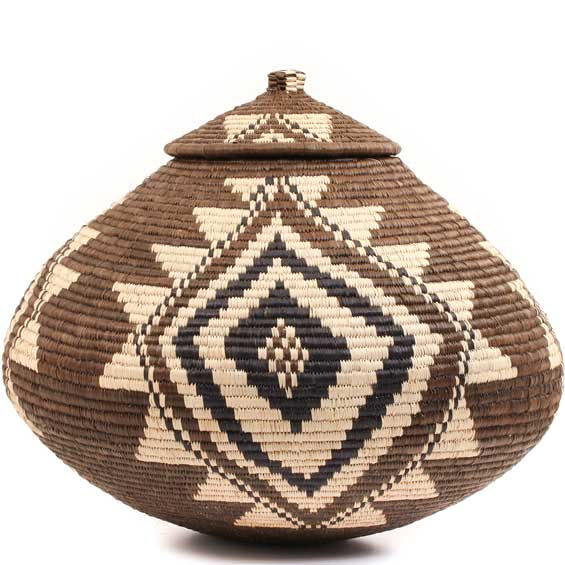 African Basket - Zulu Ilala Palm - Ukhamba - 13 Inches Tall - #56468