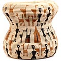 African Basket - Zulu Ilala Palm - Ukhamba Drum Shape - 13.75 Inches Tall - #57394