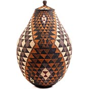African Basket - Zulu Ilala Palm - Ukhamba - 35 Inches Tall - #57399