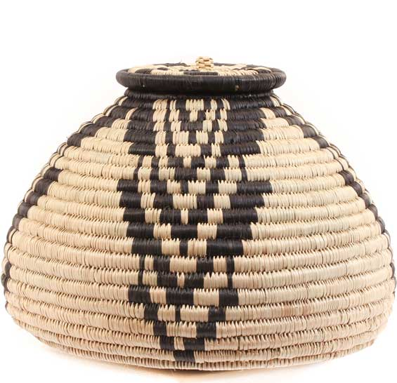 African Basket - Zulu Ilala Palm - Ukhamba -  7 Inches Tall - #64103