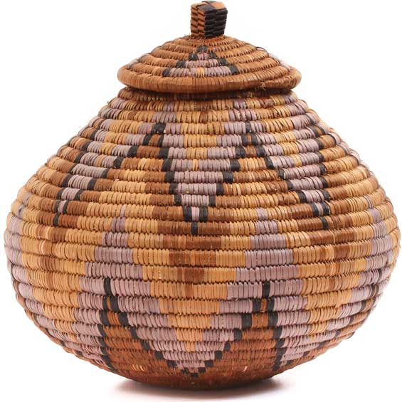 African Basket - Zulu Ilala Palm - Ukhamba -  8 Inches Tall - #64109