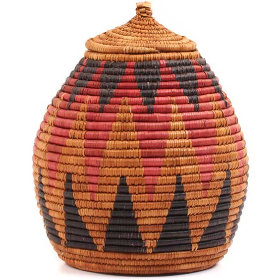 African Basket - Zulu Ilala Palm - Ukhamba -  9 Inches Tall - #64111