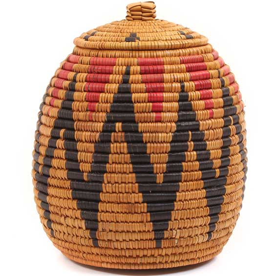 African Basket - Zulu Ilala Palm - Ukhamba -  8.75 Inches Tall - #64118