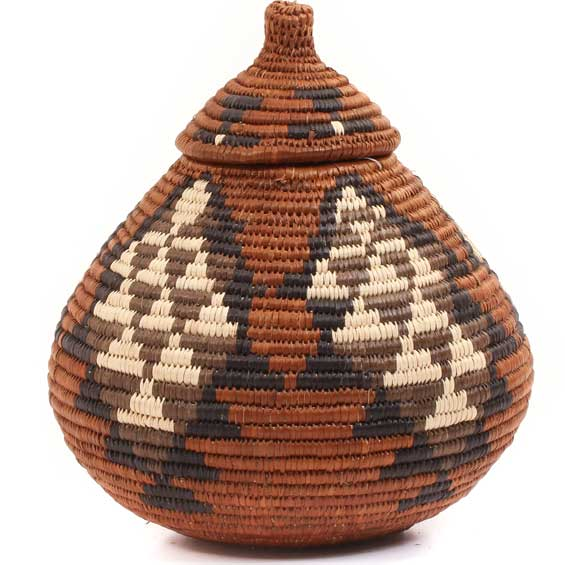 African Basket - Zulu Ilala Palm - Ukhamba -  7.25 Inches Tall - #64119