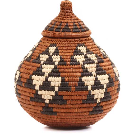 African Basket - Zulu Ilala Palm - Ukhamba -  6 Inches Tall - #64223