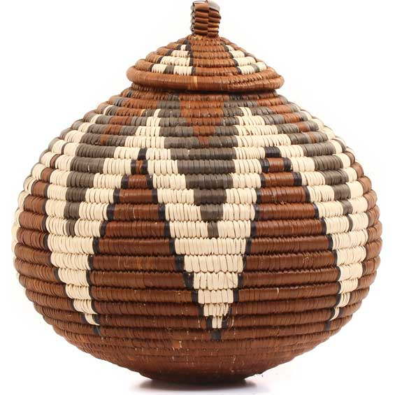 African Basket - Zulu Ilala Palm - Ukhamba -  9 Inches Tall - #64496