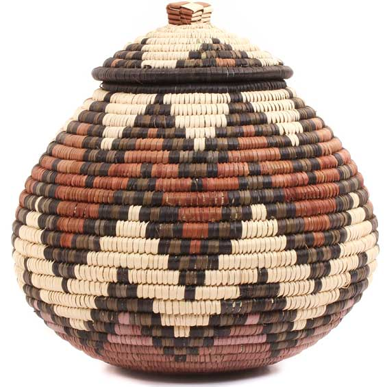 African Basket - Zulu Ilala Palm - Ukhamba -  8.5 Inches Tall - #64522