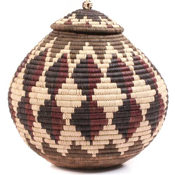 African Basket - Zulu Ilala Palm - Ukhamba - 11 Inches Tall - #64554