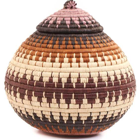 African Basket - Zulu Ilala Palm - Ukhamba -  9.5 Inches Tall - #64556