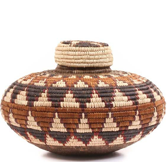 African Basket - Zulu Ilala Palm - Isichumo -  7.5 Inches Tall - #64557