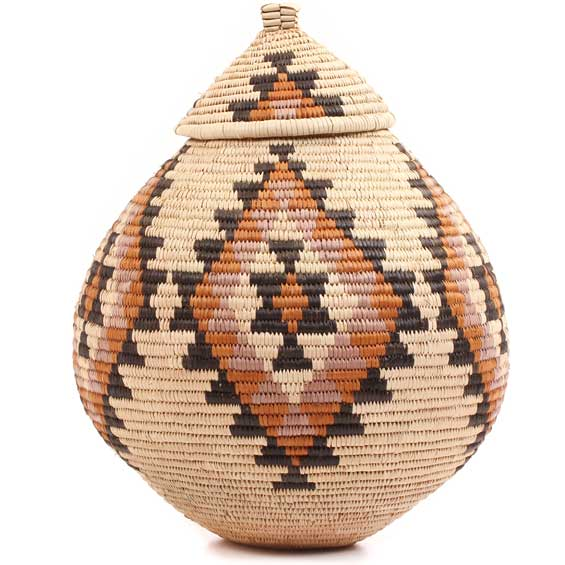 African Basket - Zulu Ilala Palm - Ukhamba - 11.25 Inches Tall - #64560
