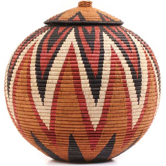 African Basket - Zulu Ilala Palm - Ukhamba - 15.75 Inches Tall - #64801