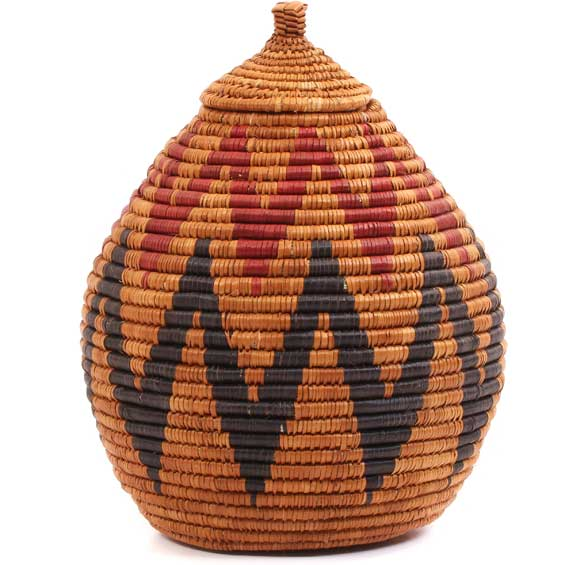 African Basket - Zulu Ilala Palm - Ukhamba -  9.5 Inches Tall - #65090