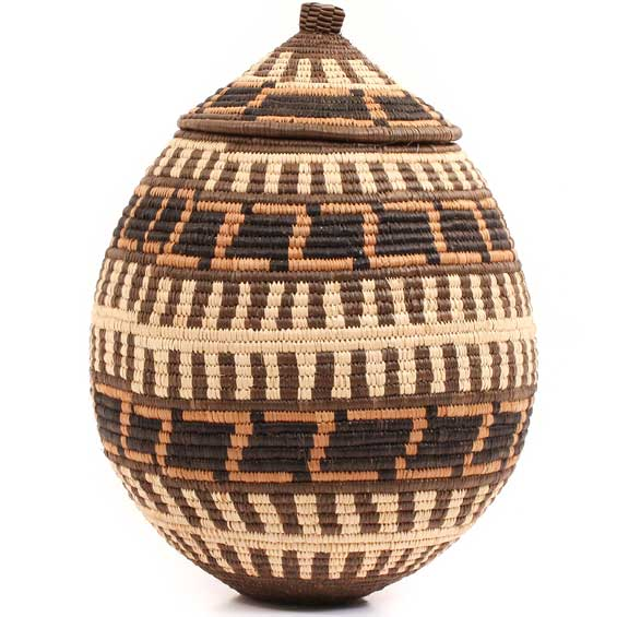 African Basket - Zulu Ilala Palm - Ukhamba - 13 Inches Tall - #67238