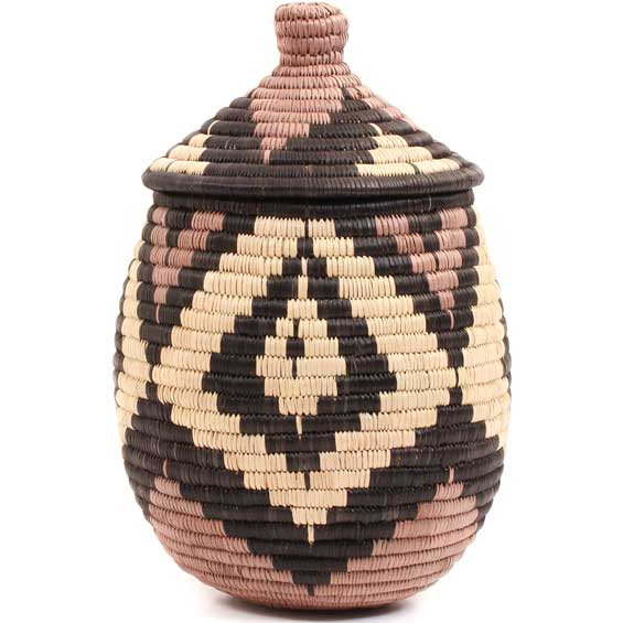 African Basket - Zulu Ilala Palm - Ukhamba - 10 Inches Tall - #67250