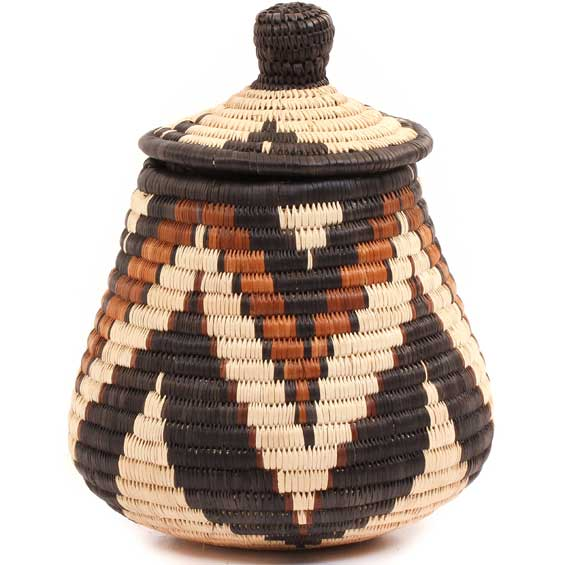 African Basket - Zulu Ilala Palm - Ukhamba -  8.5 Inches Tall - #67253