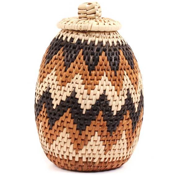 African Basket - Zulu Ilala Palm - Woven Herb Basket -  6 Inches Tall - #68573