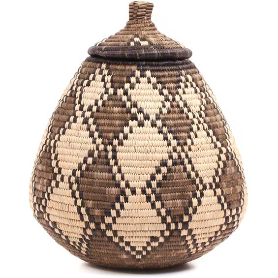 African Basket - Zulu Ilala Palm - Ukhamba - 11.75 Inches Tall - #70447