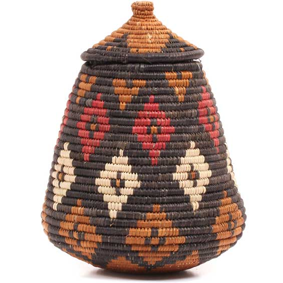 African Basket - Zulu Ilala Palm - Ukhamba -  8.75 Inches Tall - #70798