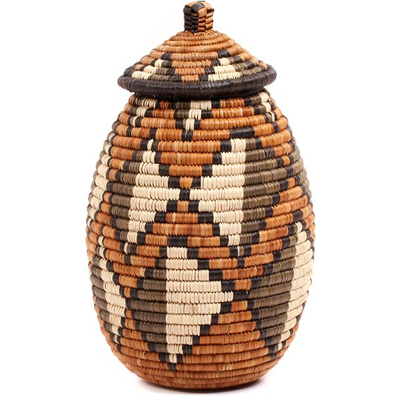 African Basket - Zulu Ilala Palm - Ukhamba - 10.5 Inches Tall - #73174