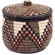 African Basket - Zulu Ilala Palm - Ukhamba Canister -  6 Inches Tall - #73212