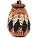 African Basket - Zulu Ilala Palm - Woven Herb Basket -  5.5 Inches Tall - #74321