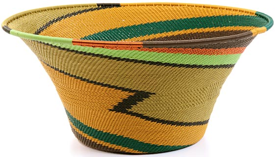 African Basket - Zulu Wire - Large Flared Bowl #21069