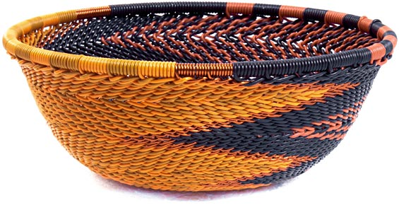 African Basket - Zulu Wire - Small Wide Bowl #37183