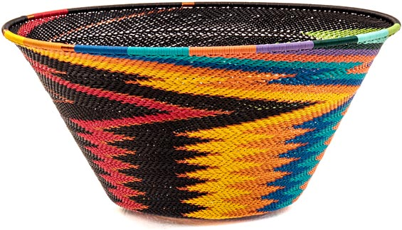 African Basket - Zulu Wire - Extra Large Funnel Bowl #39555