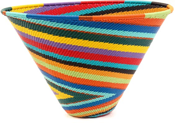 African Basket - Zulu Wire - Deep Funnel Bowl, Medium #40864