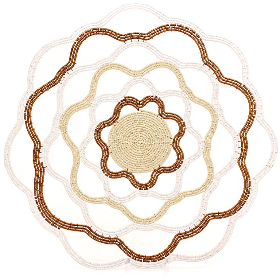 African Basket - Zulu Wire - Flat Coil Weave Plate - 12.75 Inches Across - #43653